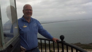 Dan Zeller atop the lighthouse on Open Tower Day, 15 November 2013