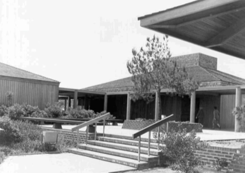 Cabrillo NM Visitor Center. View of courtyard and Exhibit/Auditorium Building. 1968. Cabrillo NM Interpretation Division Photo Collection.