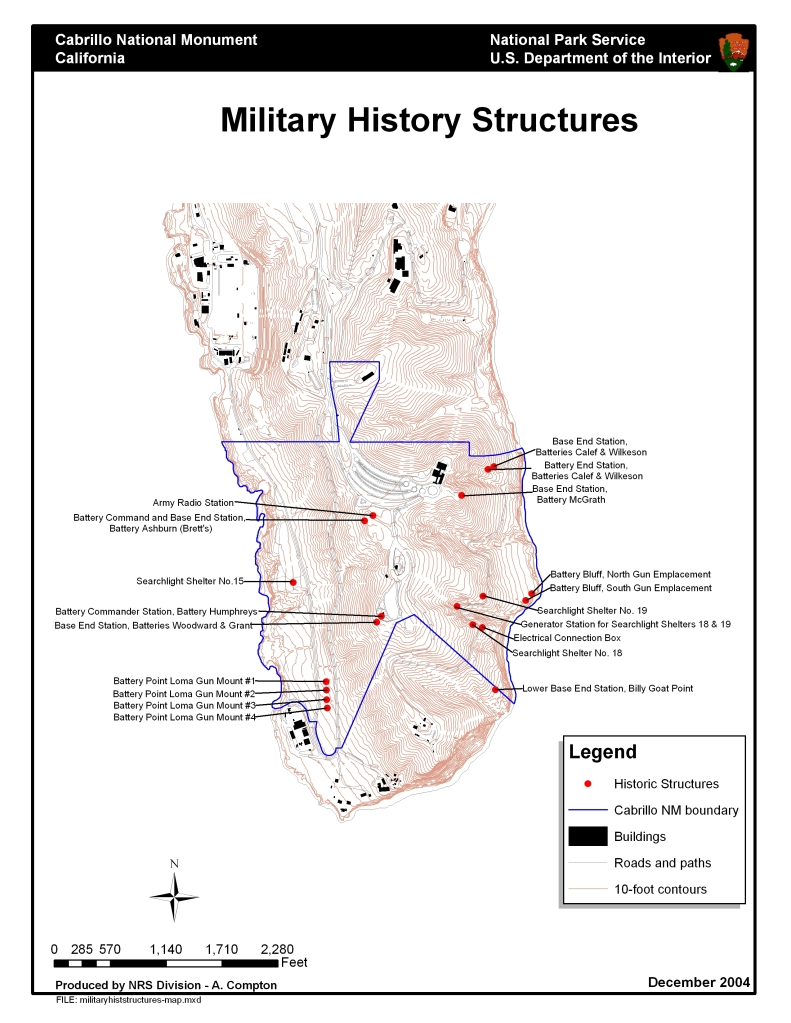 A map with World War II military locations identified