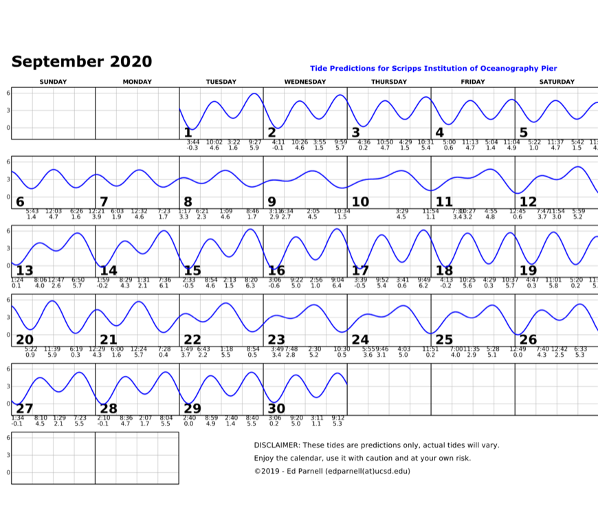 September 2020 calendar with single squiggly horizontal line through squares indicates high and low tides. Everyday the line goes down twice and up twice. The lowest tide during park hours is at 4:29pm on the 18th. This tide is a positive 0.3. Contact edparnell@ucsd.edu for more details about the calendar.