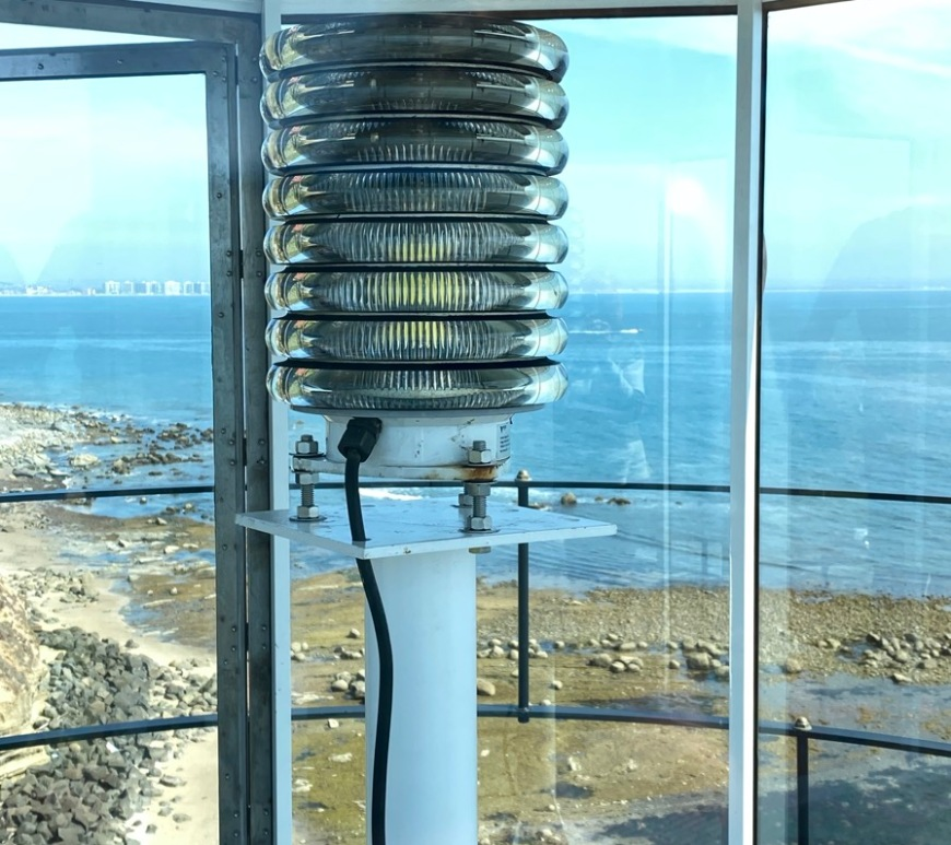 This small, modern Vega LED Beacon-44 was installed on March 3, the final hurrah of the lighthouse restoration. Its signal reaches approximately 14 miles to sea and offers a flash every 15 seconds. (Photo by Karen Scanlon.)
