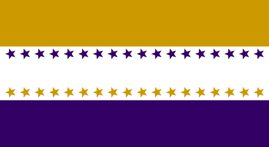 Rectangle with three horizontal bars, gold on top, white in the middle, purple on bottom. White bar has a row of purple stars at the top and a row of gold stars at the bottom.