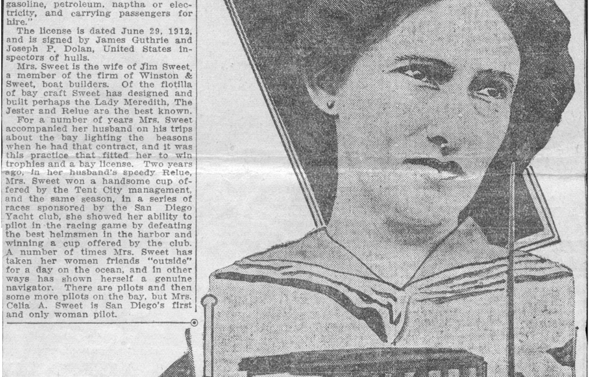 Old newspaper article showing a drawing of Celia Sweet with her boat.