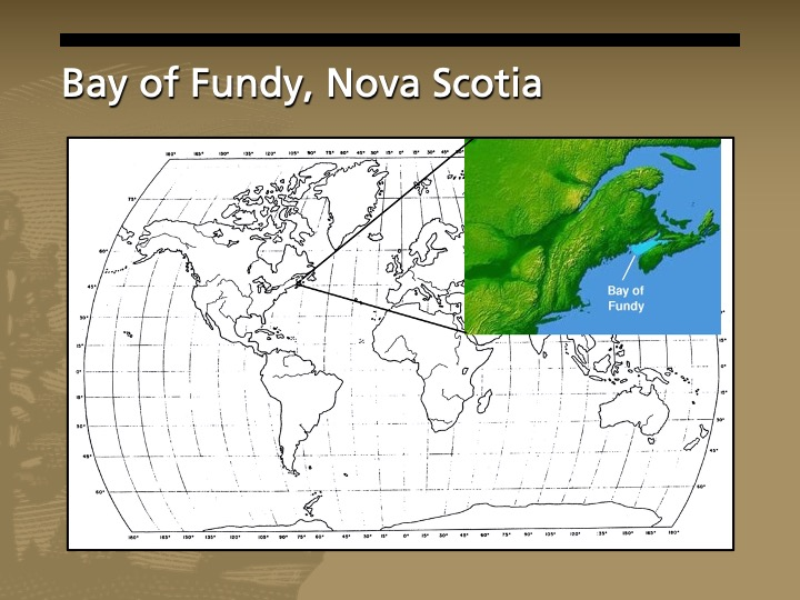 A map of the world with a closeup of the Bay of Fundy in Nova Scotia, Canada.
