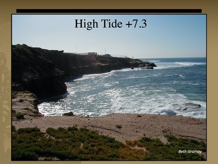 Sandstone cliffs next to the ocean. The water is high against the cliffs with a +7.3 ft. high tide.