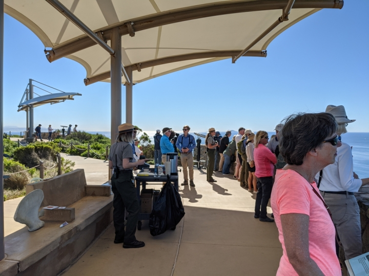 A crowd of 15 park visitors stand at a wall made of large rocks looking toward the ocean. Ranger Elizabeth stands next to a wheeled cart with coffee cups and coffee urns. Volunteer Wyler and Ranger Amanda are holding binoculars to watch for whales.