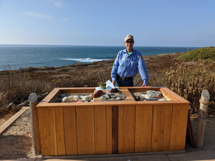Park volunteer Dan stands behind the tidepool Education Table smiling. Inside the table there is sand and models of various creatures that can be found in Cabrillo's tidepools. Lemonade Berry and various other dormant bushes along with blue ocean and sky are in the background.
