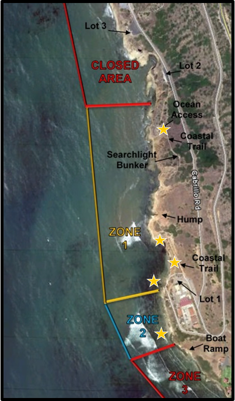 Aerial view of the tidepools showing management zones as well a closed area to the north. Yellow stars indicate where volunteers should be positioned when working in the tidepools.