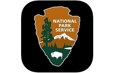 NPS arrowhead on a black square background