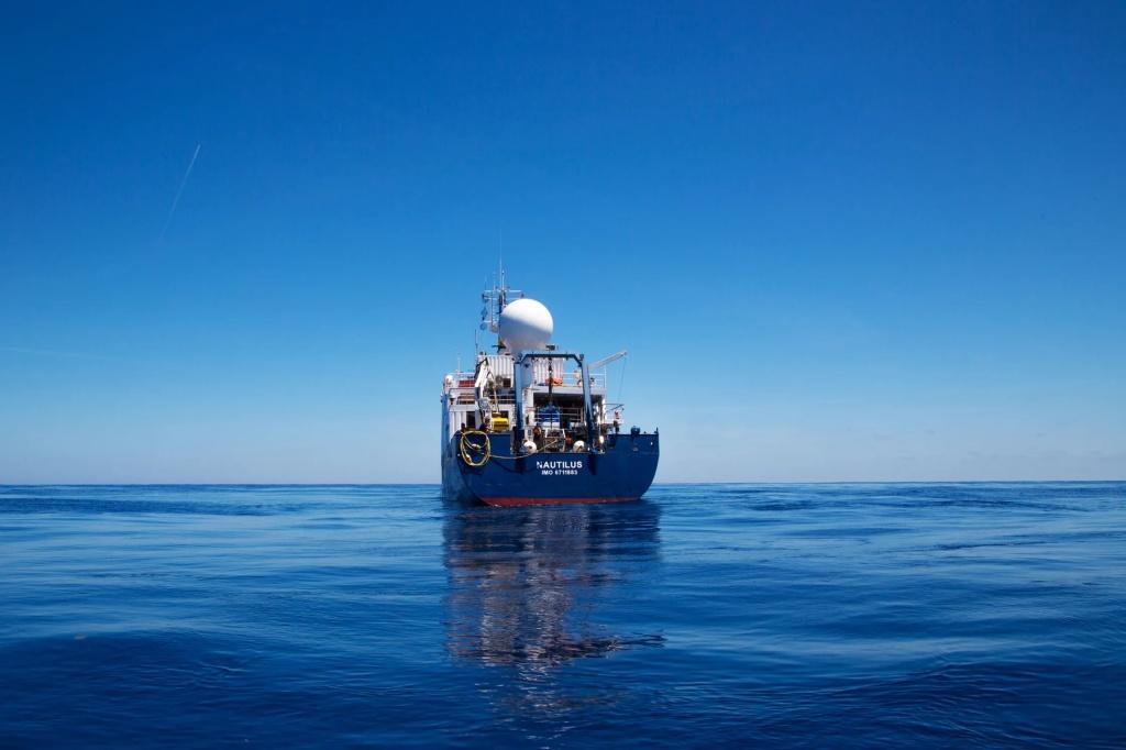 A research ship on a calm ocean